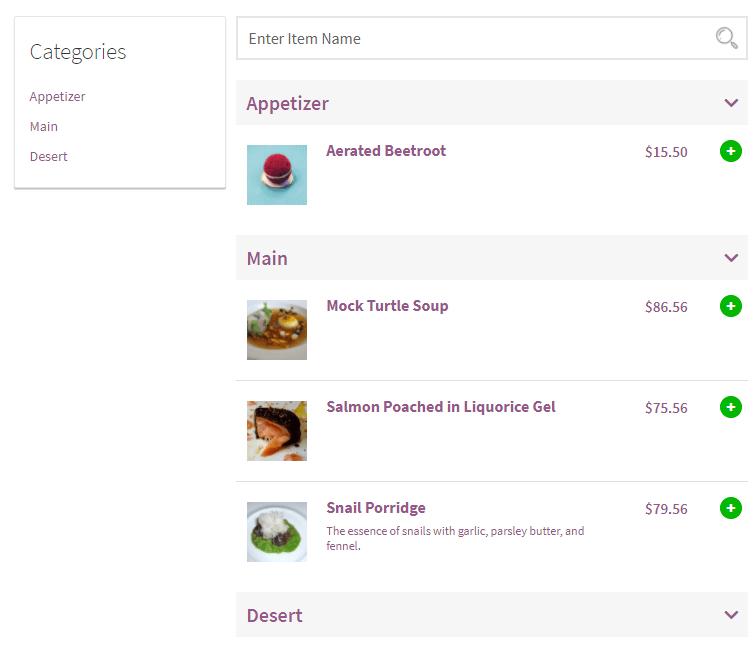 Restaurant shows the menu